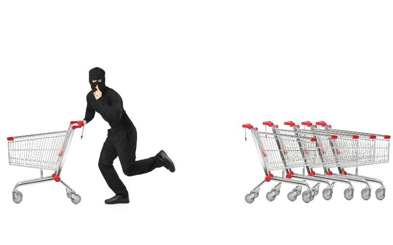 stealing groceries concept