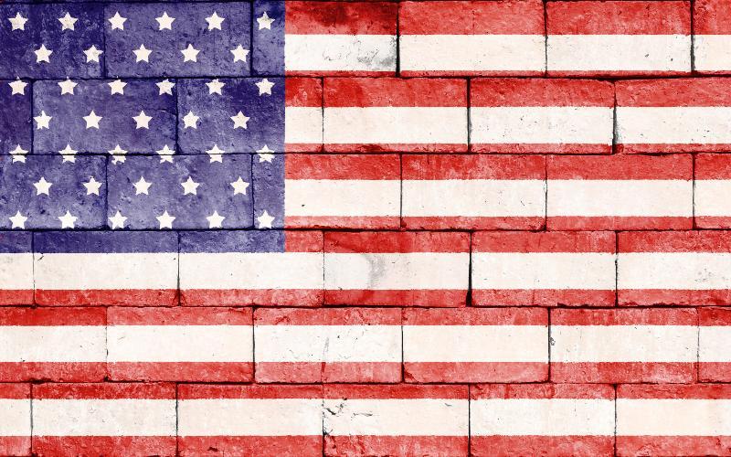 concrete american flag wall