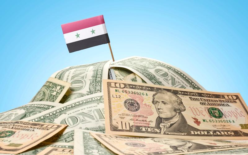 dollars, syria flag