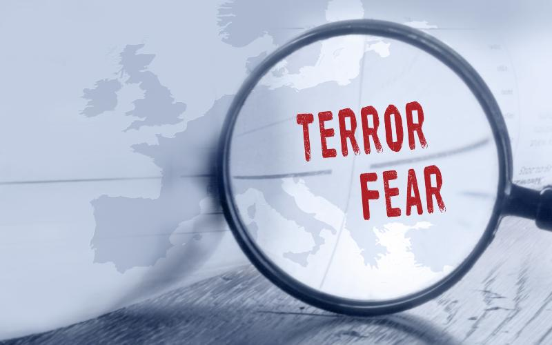 terror fear in magnigying glass