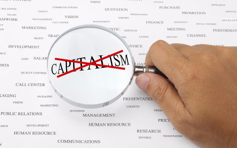 """the word """"capitalism"""" marked out"""