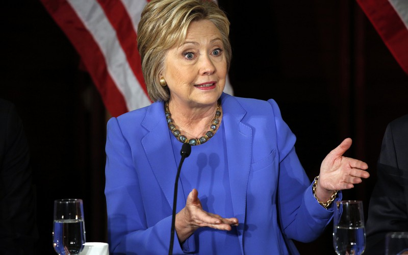 Hillary Clinton makes a point during panel discussion