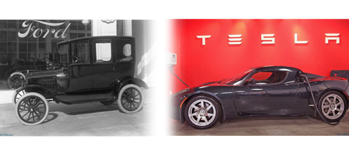 1917 Ford and Telsa electric car